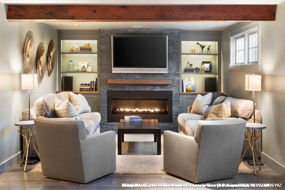 Stackable Stone Fireplace With Built Ins On Each Side For Traditional Living Room Basement Living Rooms Long Narrow Living Room Traditional Design Living Room