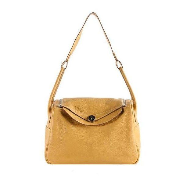 Hermes Curry Clemence Lindy 34cm Shoulder Handbag found on Polyvore