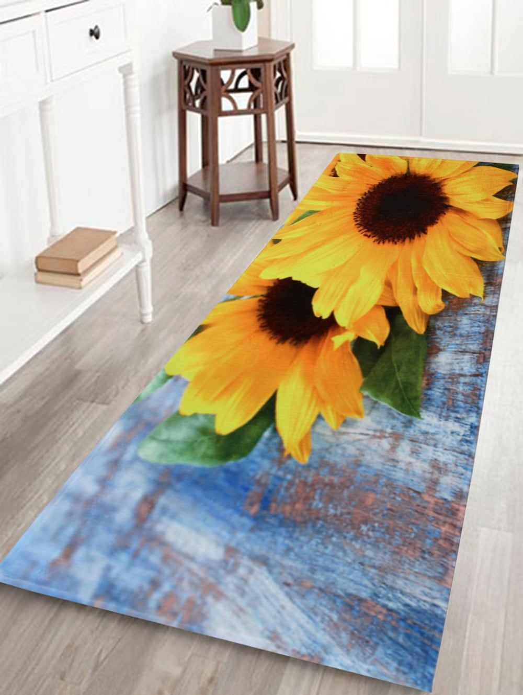 Non Slip Sunflower Coral Velvet Area Rug Colormix W16 Inch L47 Inch Rugs Area Rugs Bath Rugs #sunflower #rugs #for #living #room
