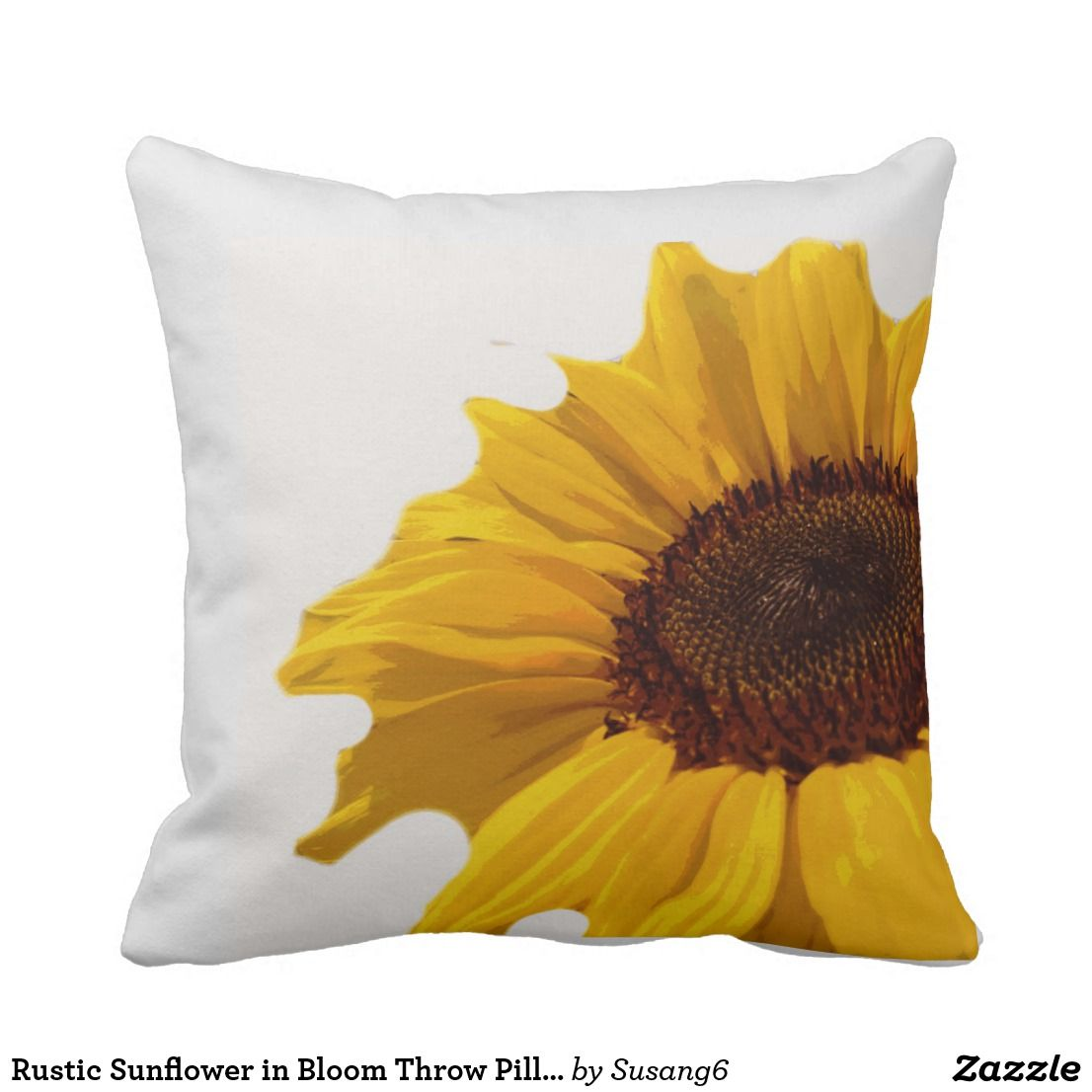 Rustic sunflower in bloom throw pillow