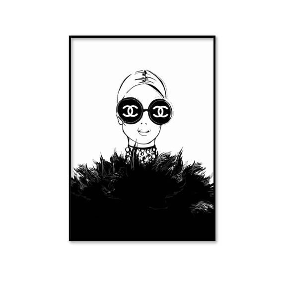 Chanel framed print chanel black and white illustration