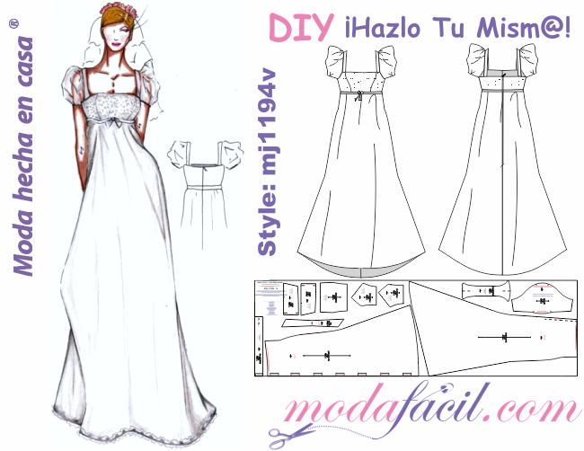 descarga gratis los moldes de precioso traje de novia de corte