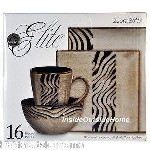 Details About Safari Zebra Animal Print Dinnerware Stoneware