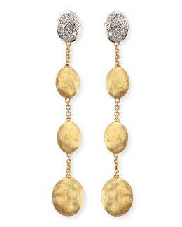 O5557 Marco Bicego Dangling 18k Gold Earrings with Diamonds