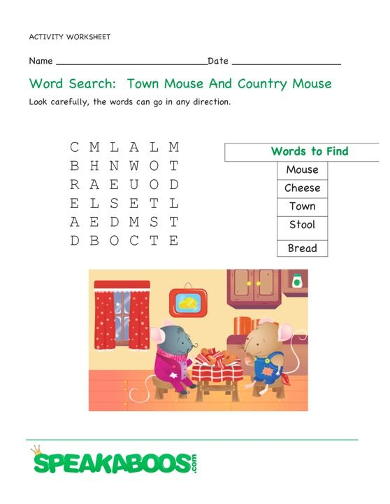 Word Search The Town Mouse And The Country Mouse