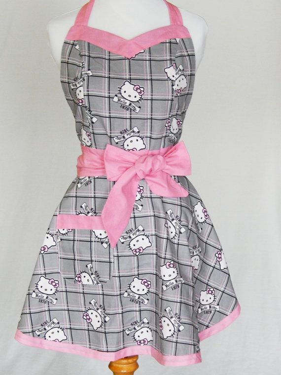 4d30d36261 Vintage Hello Kitty Style Apron by sassykitchenshop on Etsy
