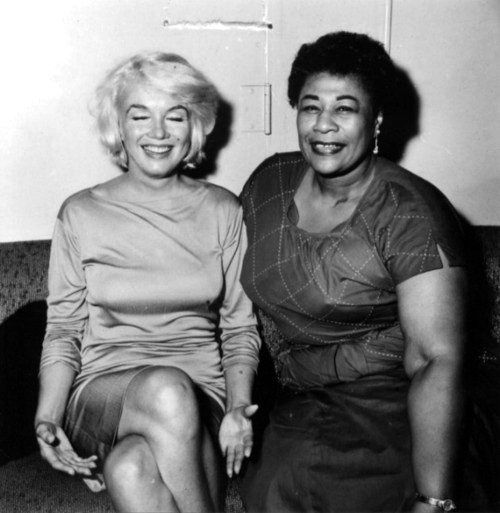 "Marilyn Monroe & Ella Fitzgerald. In Ella's own words….""I owe Marilyn a real debt…. because of her I played the Mocambo, a very popular nightclub in the 1950s. She personally called the owner of the Mocambo and told him she wanted me booked immediately and if he would do it, she would take a front table every night. And it was true... She did..."" Two brilliant women here."