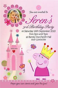 10 X CHILDRENS PERSONALISED PRINCESS PEPPA PIG INVITATIONS