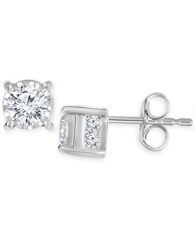Angara Bezel Set Diamond Martini Stud Earrings in White Gold hQSe6