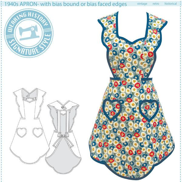 Schnittmuster 1940s Apron Schürze | Apron, Diy design and Craft ideas