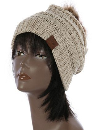 Super Soft Beige Pom Pom Winter Hat (Pre-order)