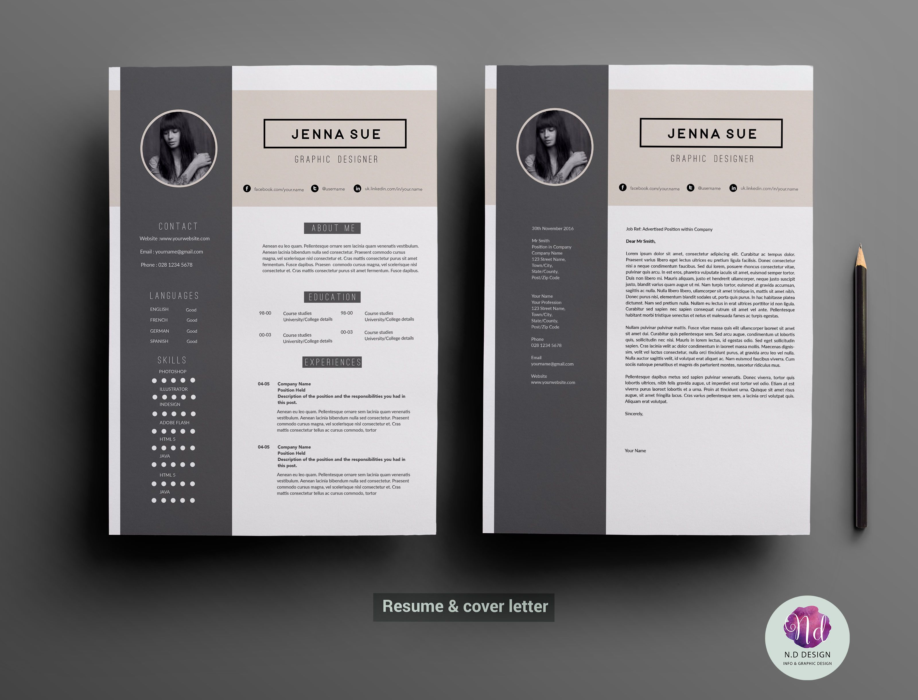 modern 2 page resume template professional resume
