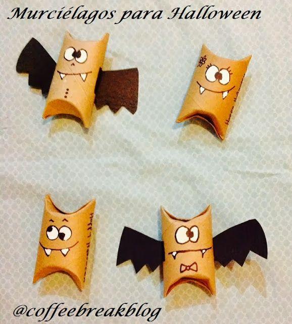Coffee Break Manualidad Con Rollos De Papel De Baño Murciélagos Para Halloween Manualidades Murcielagos Halloween Manualidades Halloween