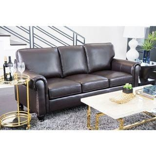 shop for abbyson london top grain leather sofa get free shipping at