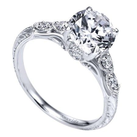 Vintage Inspired Engagement Ring With Elegant Engraving Wedding Day D Vintage Inspired Engagement Rings Wedding Day Diamonds Antique Style Engagement Rings