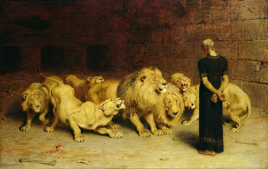 Daniel in the Lions Den by Briton Riviere | Daniel and the lions, Biblical art, Lions