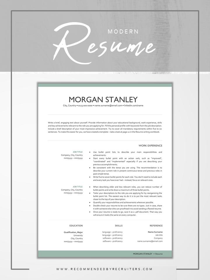 Unique Resume Design Modern Resume Template Green Cv Design Inspiration Resume Template Resume Resume Design Inspiration