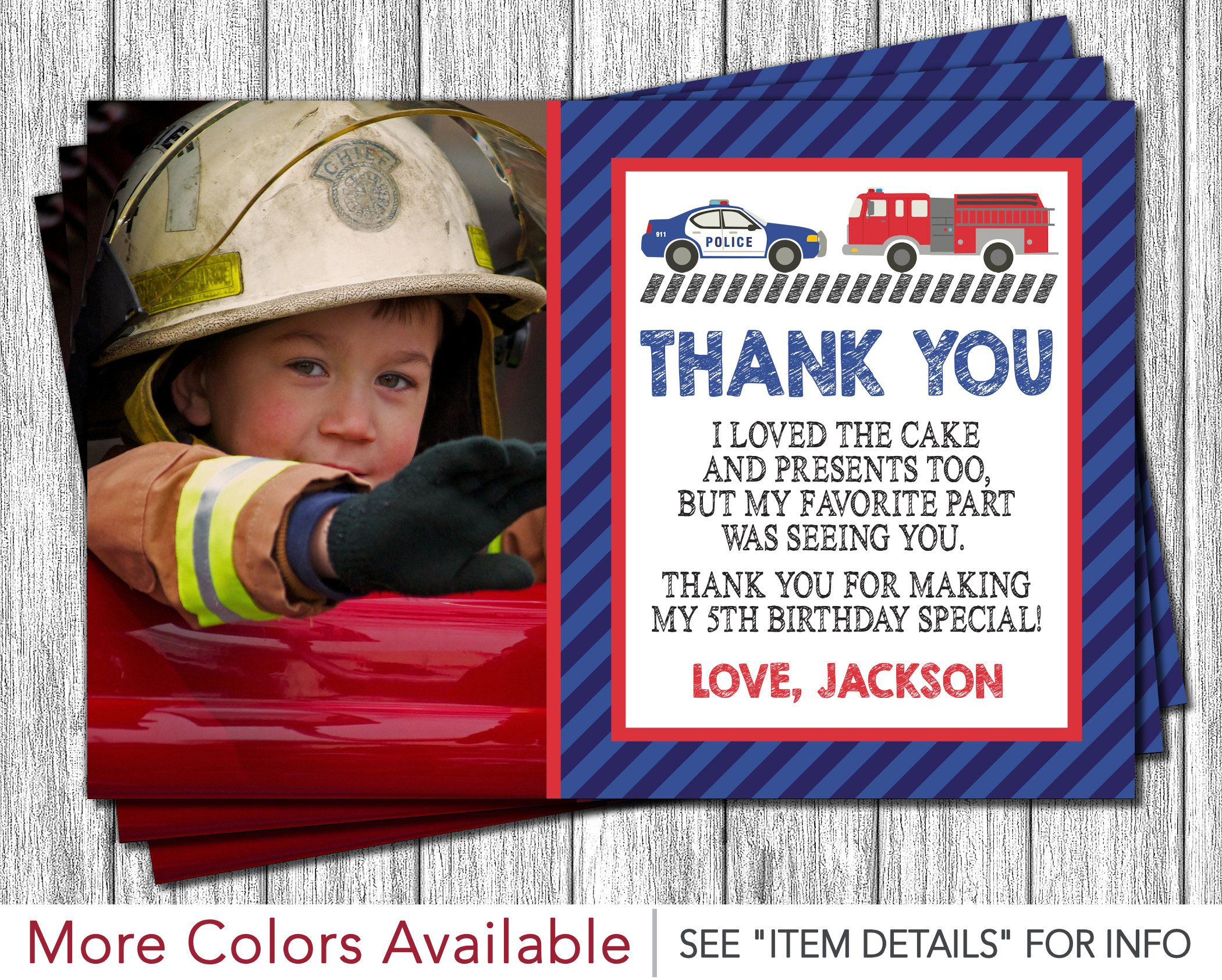 Police And Fire Thank You Card Police Car And Fire Truck Birthday