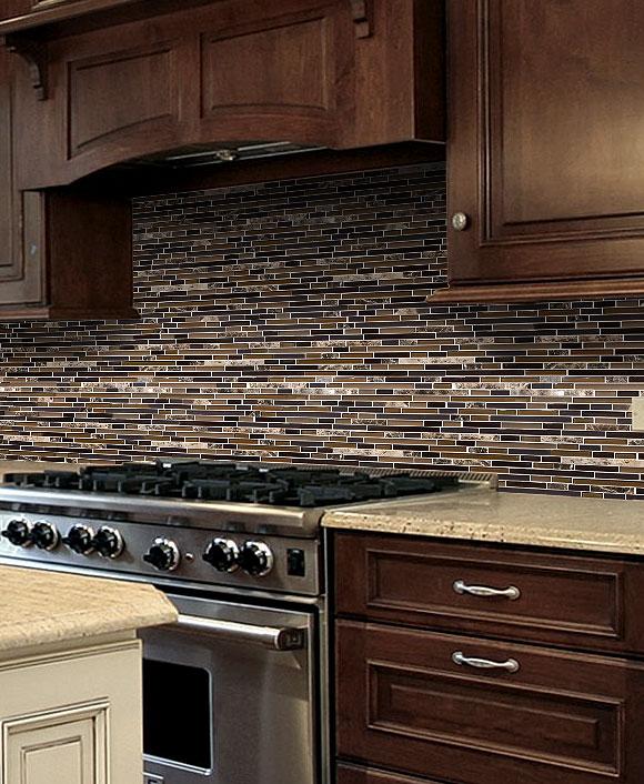 Brown Glass And Marble Stone Mix Backsplash Tile Backsplash Com Cocinas Remodelaciones