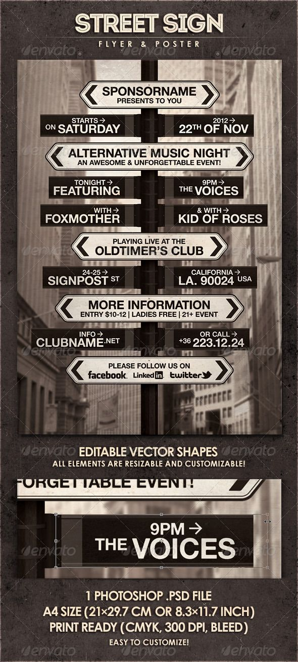 Street Sign Flyer Poster Street Signs Poster Template Flyer