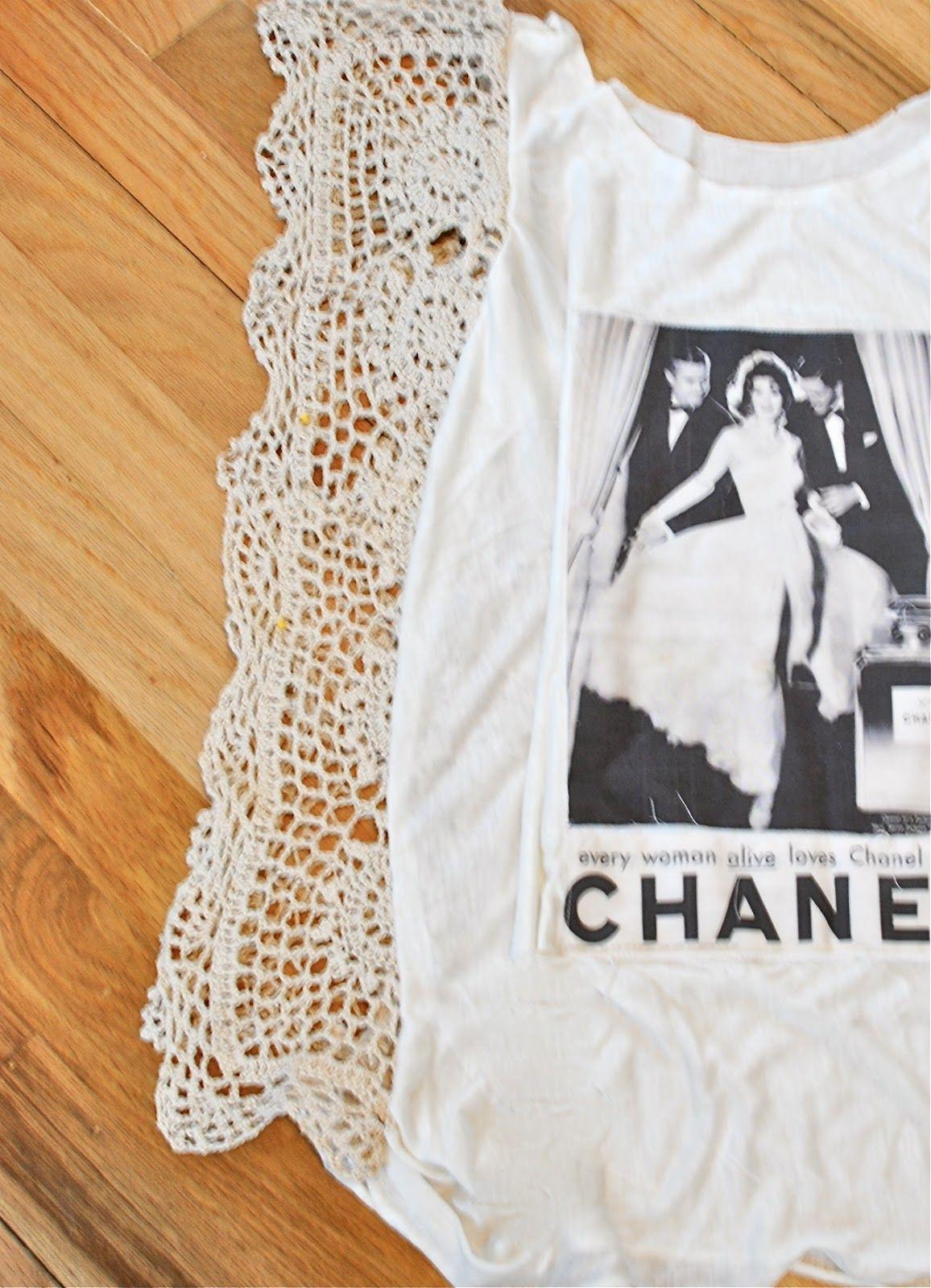 Dyi tshirt refashion with crochet trim seam diy shirt