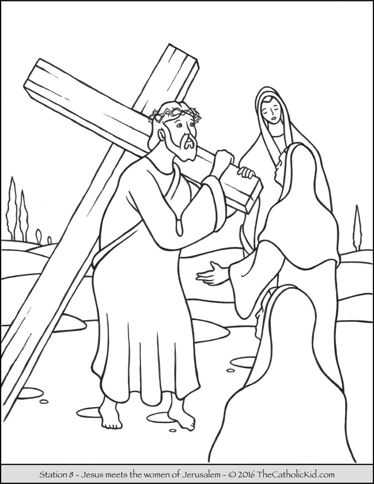 Stations of the Cross Coloring Pages 8 Jesus Meets the Women of