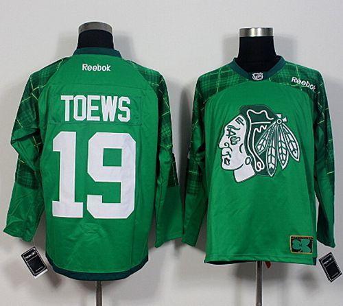 Blackhawks #19 Jonathan Toews Green St. Patrick's Day New Stitched NHL  Jersey