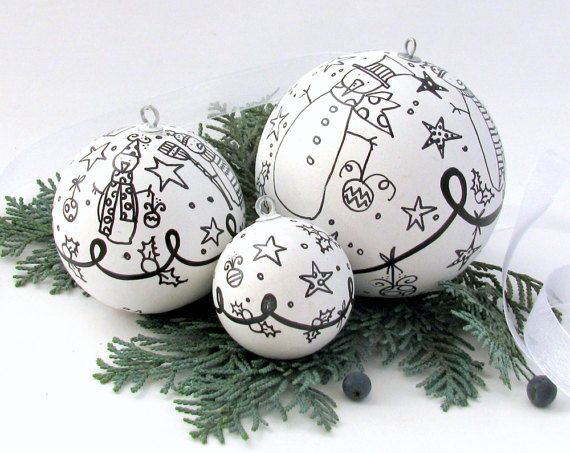 Ceramic Christmas Ornament Sale Black and White Ceramic ...