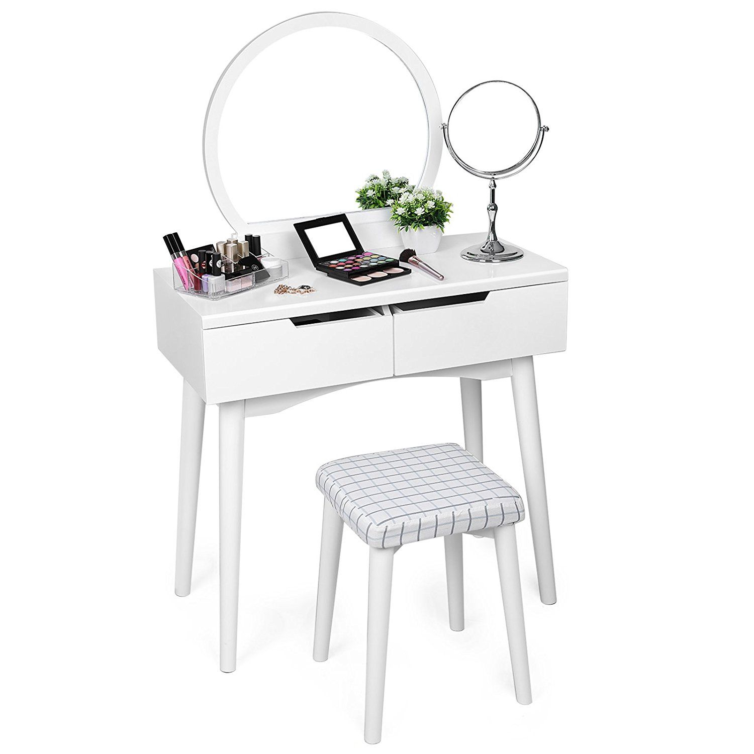 Amazon Com Songmics Vanity Makeup Table Set With Mirror 2 Sliding Drawers Dressing Table Removable Stool C