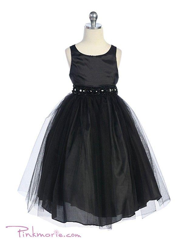Black Rhinestone Beaded Tulle Flower Girl Dress