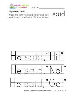 Sight Word Said Sight Word Practice Worksheets For Kinder Sight Word Worksheets Sight Words Sight Words Kindergarten Activities Said worksheets kindergarten