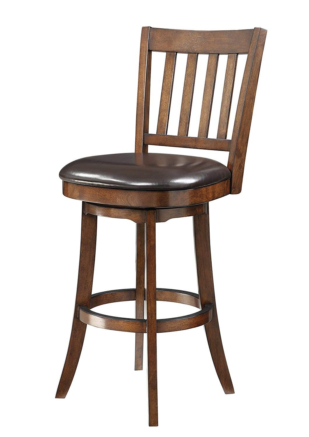 Inspired By Bassett Mission Full Back Bar Stool With Solid Wood Frame And Bonded Leather Seat 30 Inch Espresso Bar Stools Modern Vintage Furniture Stool