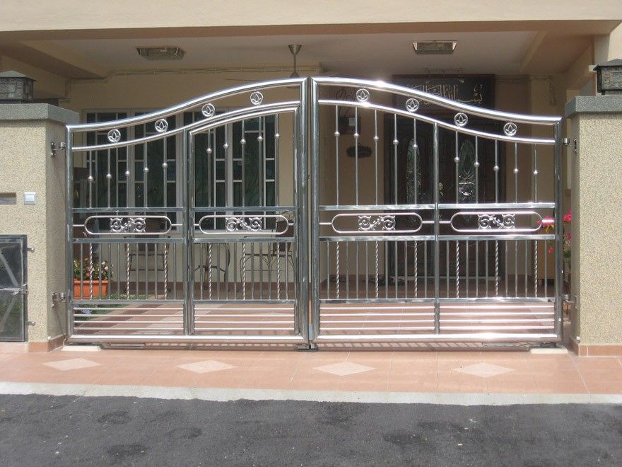 Stainless steel main gate 880 660 spititual for Main gate design