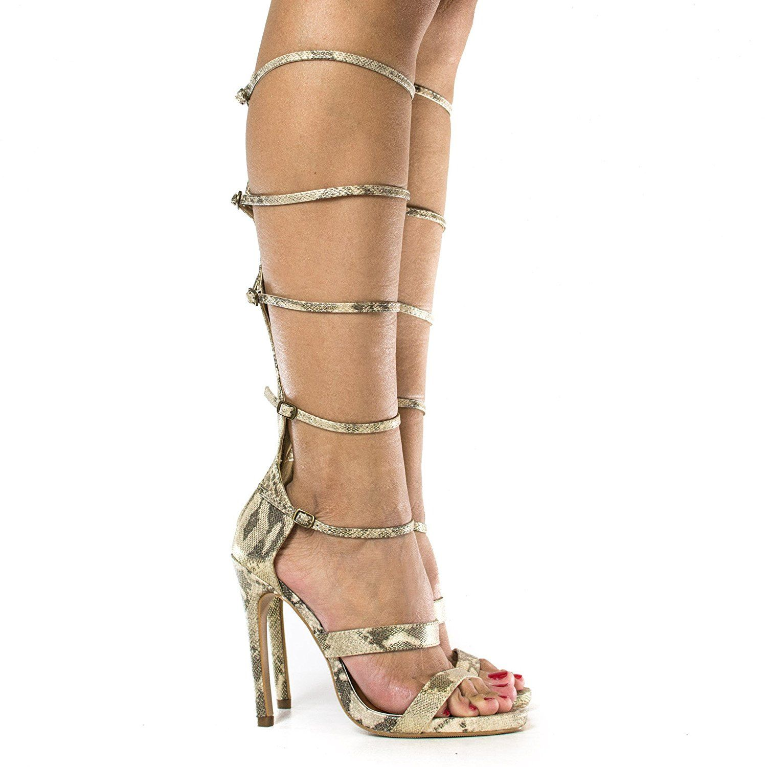 fb331130fc38 Knee High Open Toe Gladiator Multi Buckle Strappy Stiletto Heels     Remarkable product available now.   Gladiator sandals