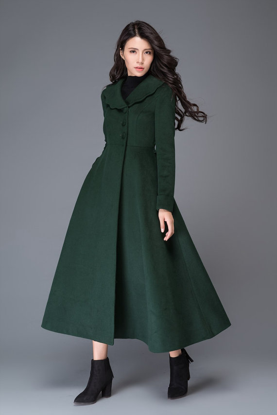 bfe024cc905 Vintage Princess Coat   green wool coat smaller collar coat  winter women s  coat  maxi coat C997