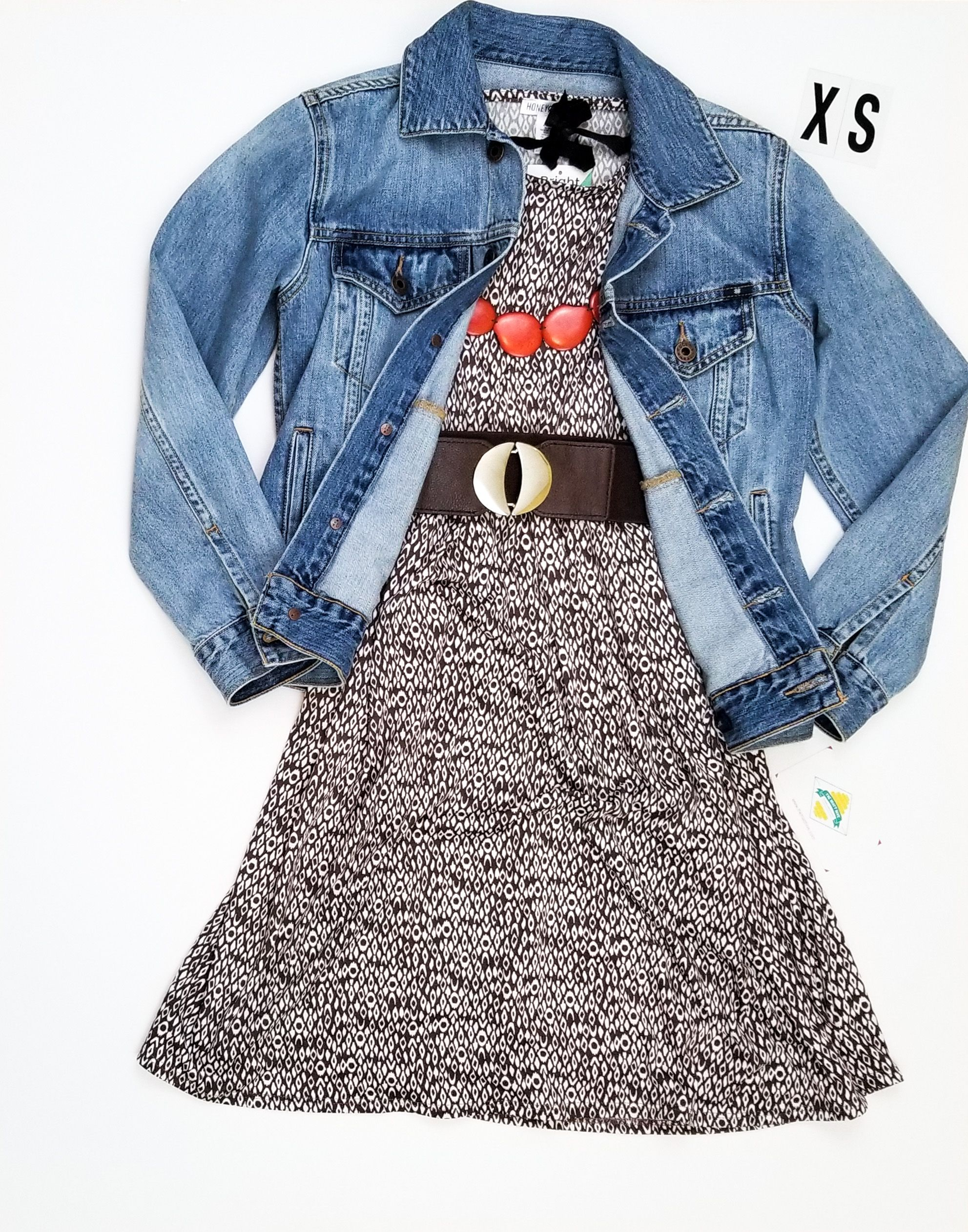 9e01a140c0d7 Piphany (P!phany) Windsor dress styled with a jean jacket and belt.   piphany  piphanystylist
