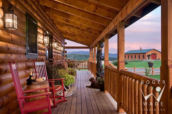 Log Home Cabin Photography Front Porch Of Milled Log Home With