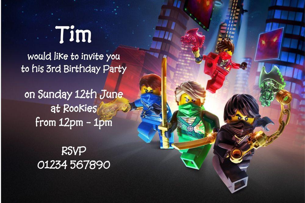 10 superb personalised kids party invitations lego ninjago limited ...