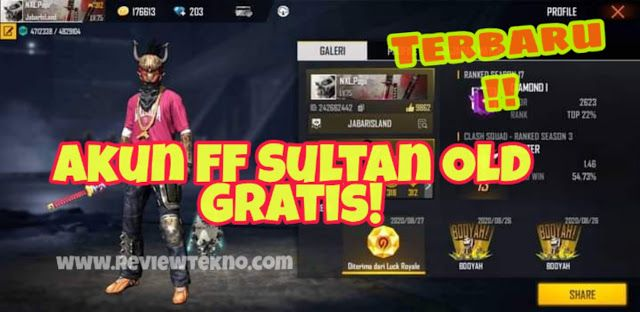 Akun Ff Sultan Gratis Ada Elite Pass Season 1 Elite Penyimpanan Perkalian