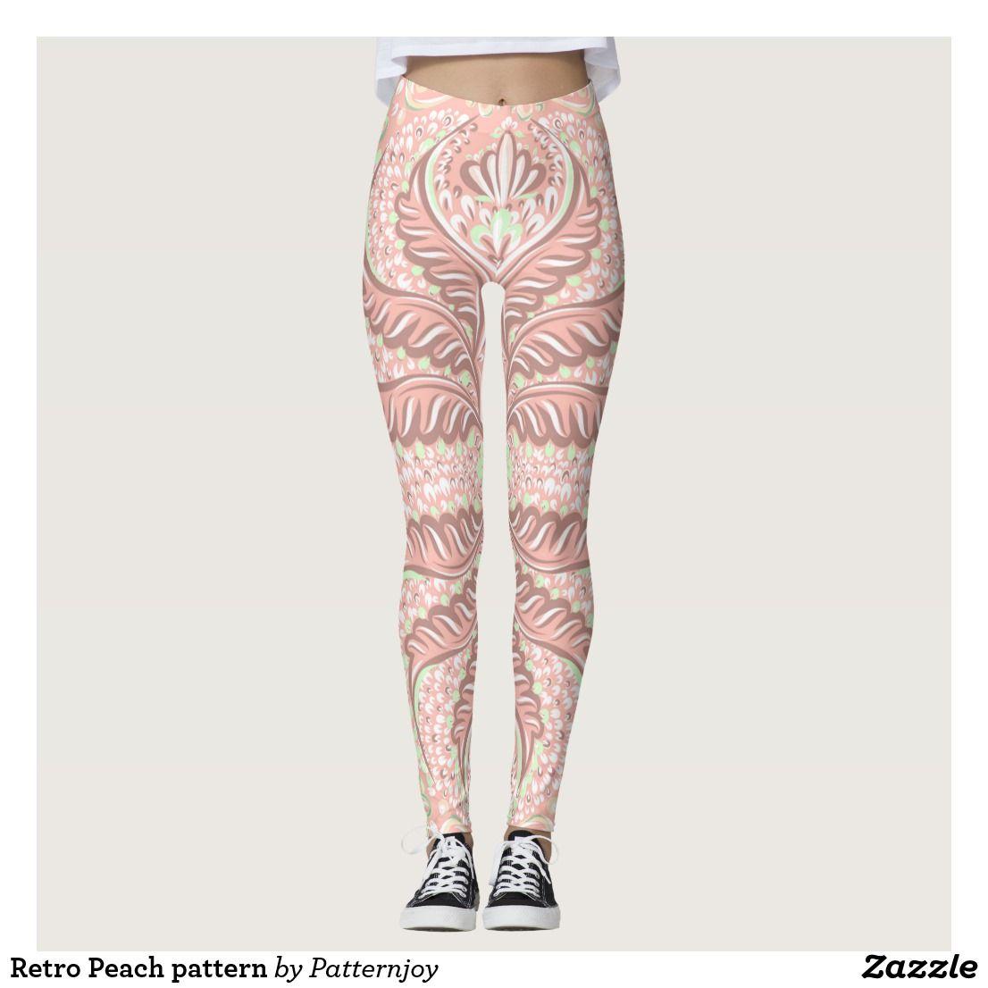Retro Peach pattern Leggings   #abstract #retro #floral #pattern #vintage #inspired #cute #kawaii #Leggings