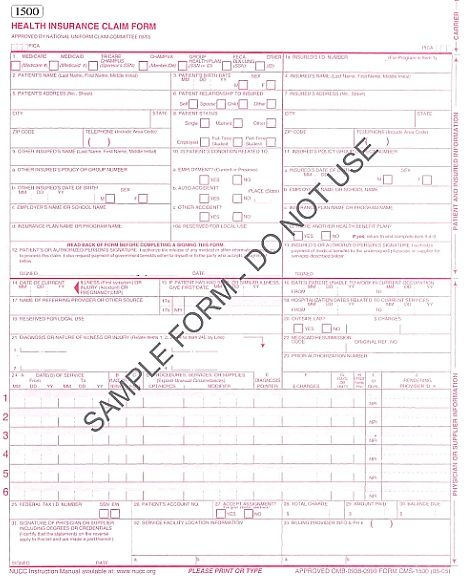 CMS -1500 - medical claims form - pinned by Private Practice from - medicare form