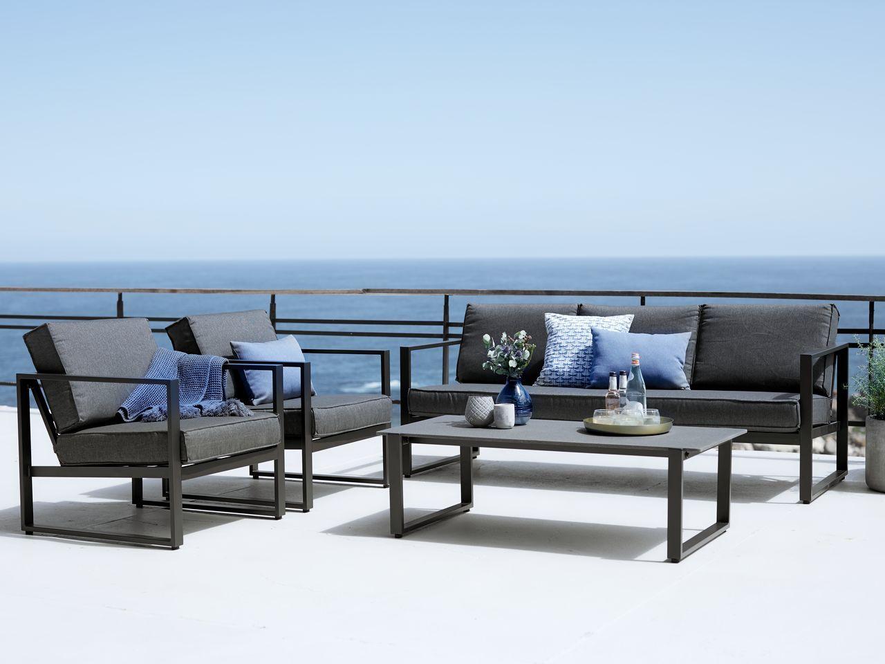Lounge Set Vonge 5 Pers Black Outdoor Furniture Wooden Garden