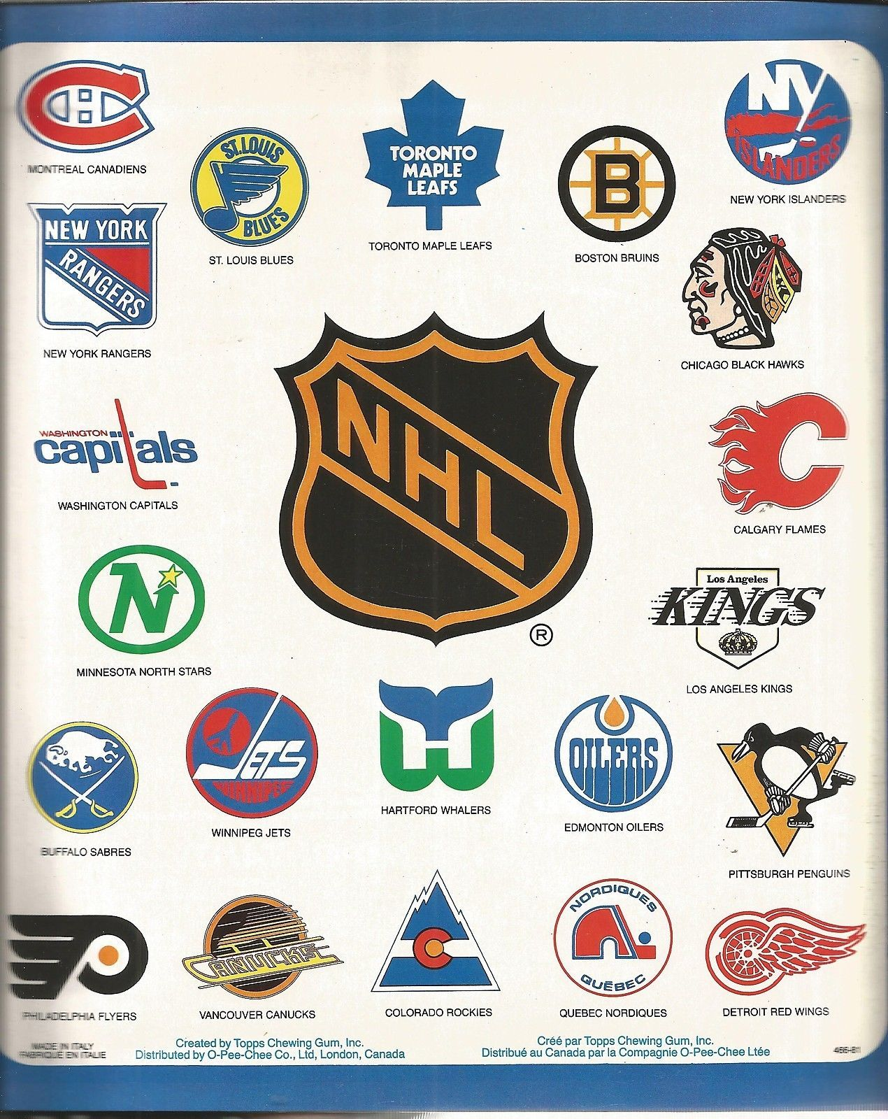 Hockey Logos A Sweet Collection Of Nhl Logos From A 1981 O Pee Chee Sticker