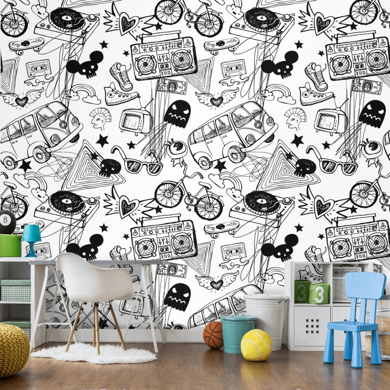 Teenager S Room Wallpaper Mural Boys Room Removable Etsy Boys Room Mural Boys Room Wallpaper Boy Room Accent Wall
