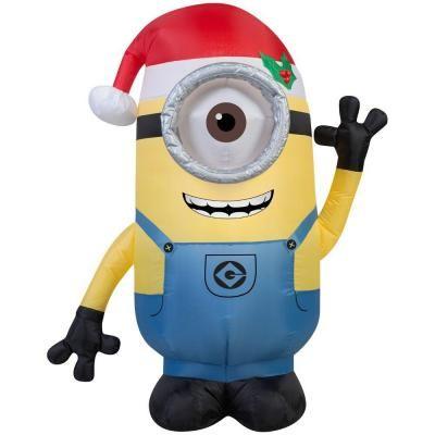 42 in H Inflatable Minion Stuart with Santa Hat Santa hat