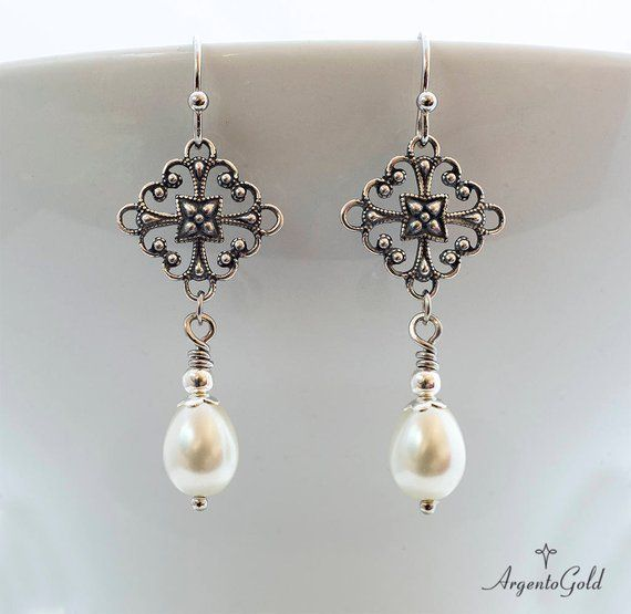 Edwardian Earrings, Ivory Pearl Earrings, Tudor Earrings, Vintage Drop Earrings, Teardrop Pearls, Silver Earrings, 1920s, Handmade UK, Gift #edwardianperiod