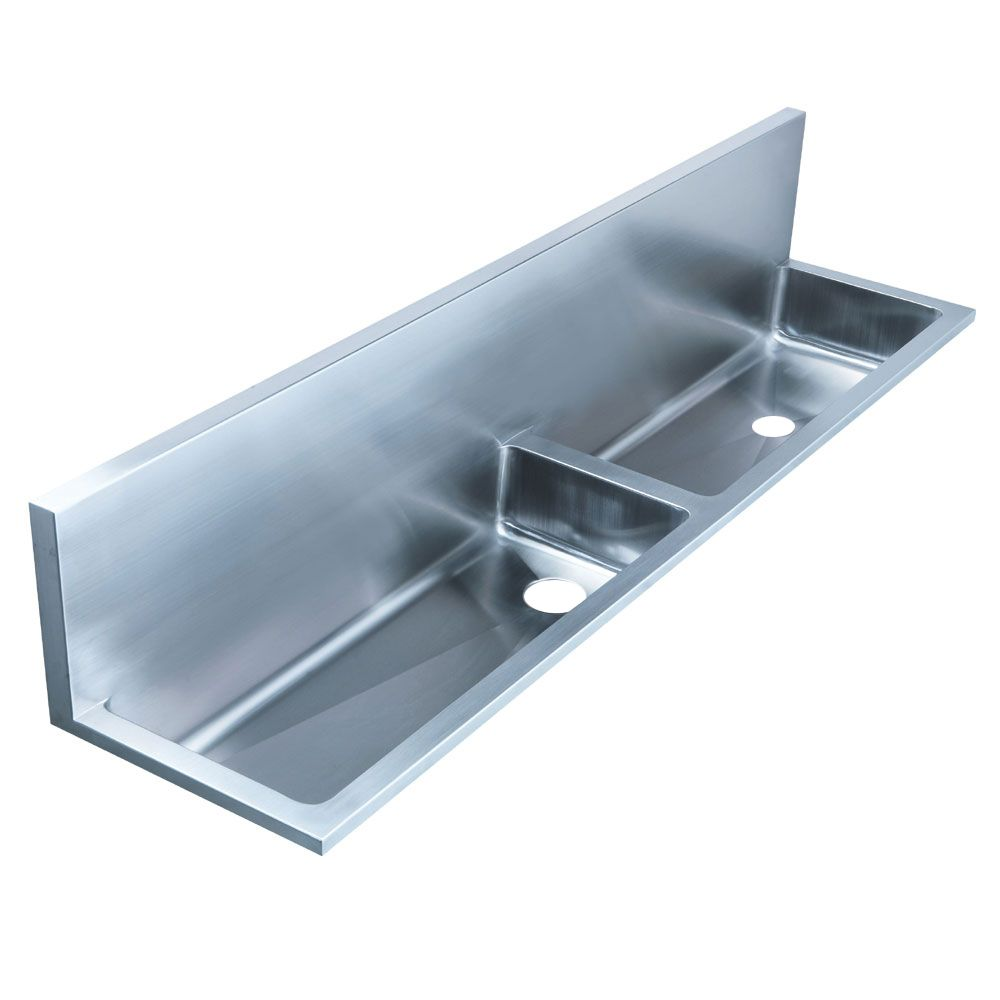 #Whitehaus Double Bowl Wall Mount Stainless Steel #utility Sink WHNCD72