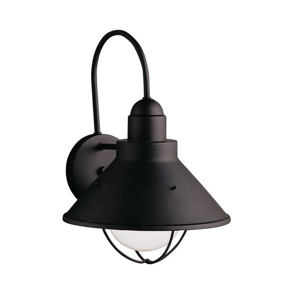 Kichler lighting seaside collection 1 light black outdoor wall lantern
