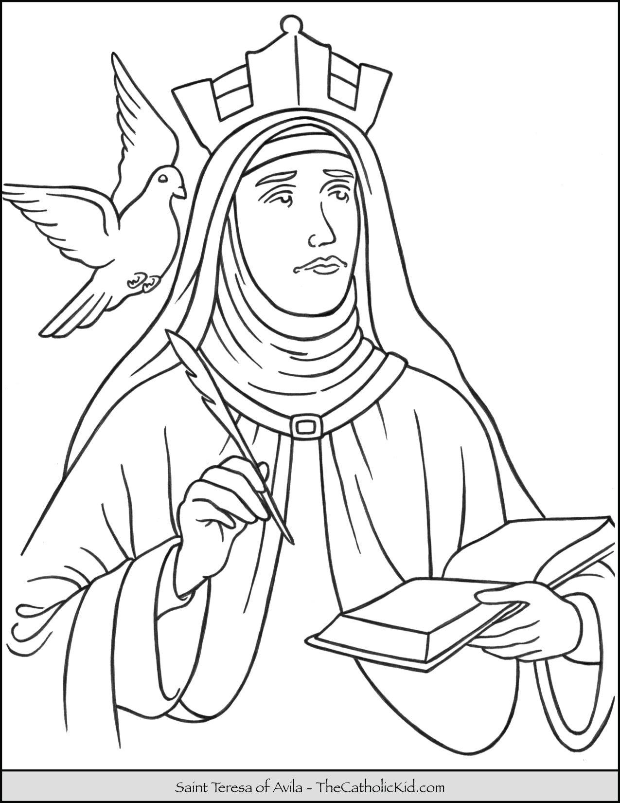 Saint Teresa Of Avila Coloring Page Thecatholickid Com Saint
