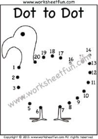 Dot to Dot - Duck - Numbers 1-20 - One Worksheet | Free ...